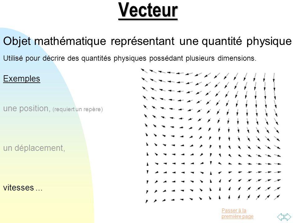 Passer à la première pageVecteur Objet mathématique représentant une quantité physique Utilisé pour décrire des quantités physiques possédant plusieurs dimensions.
