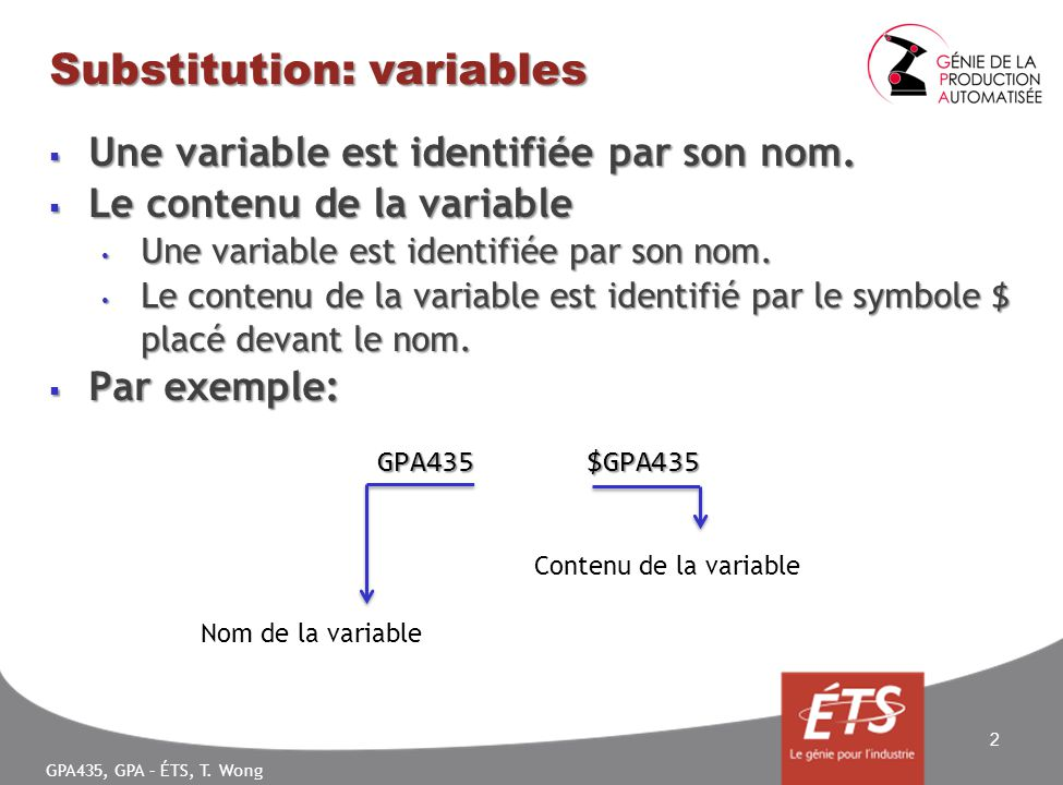 GPA435, GPA – ÉTS, T.Wong Substitution: variables Une variable est identifiée par son nom.