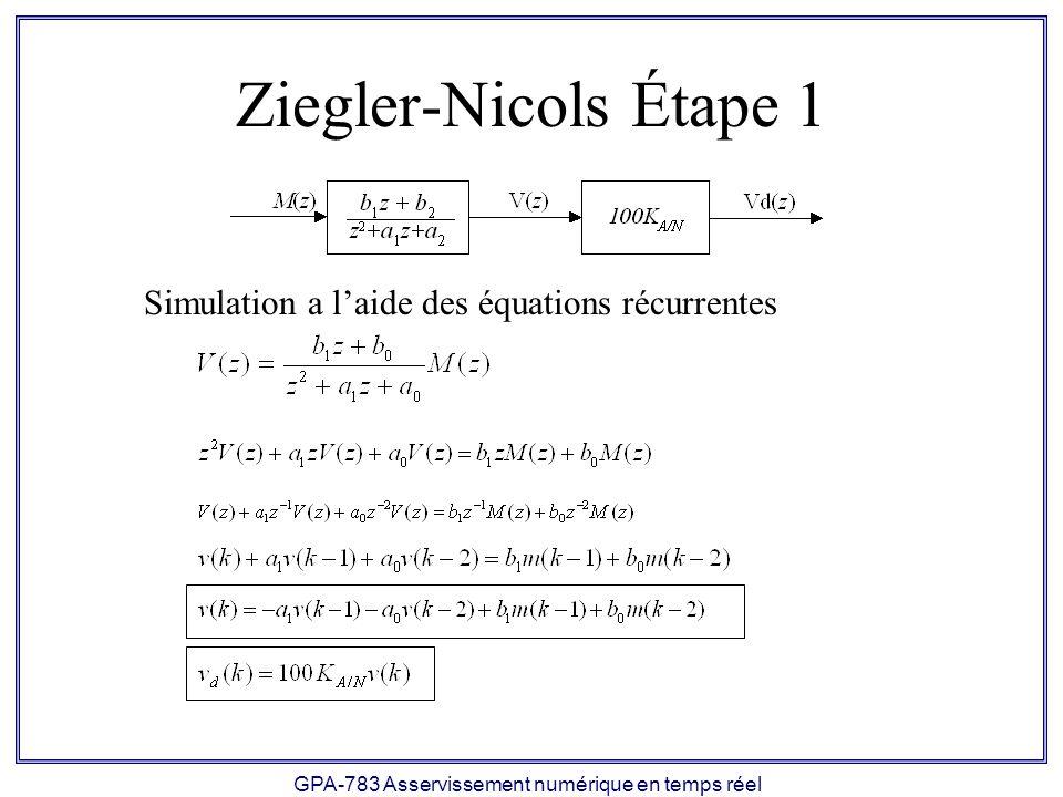 GPA-783 Asservissement numérique en temps réel Ziegler-Nicols Étape 1 Simulation a laide des équations récurrentes