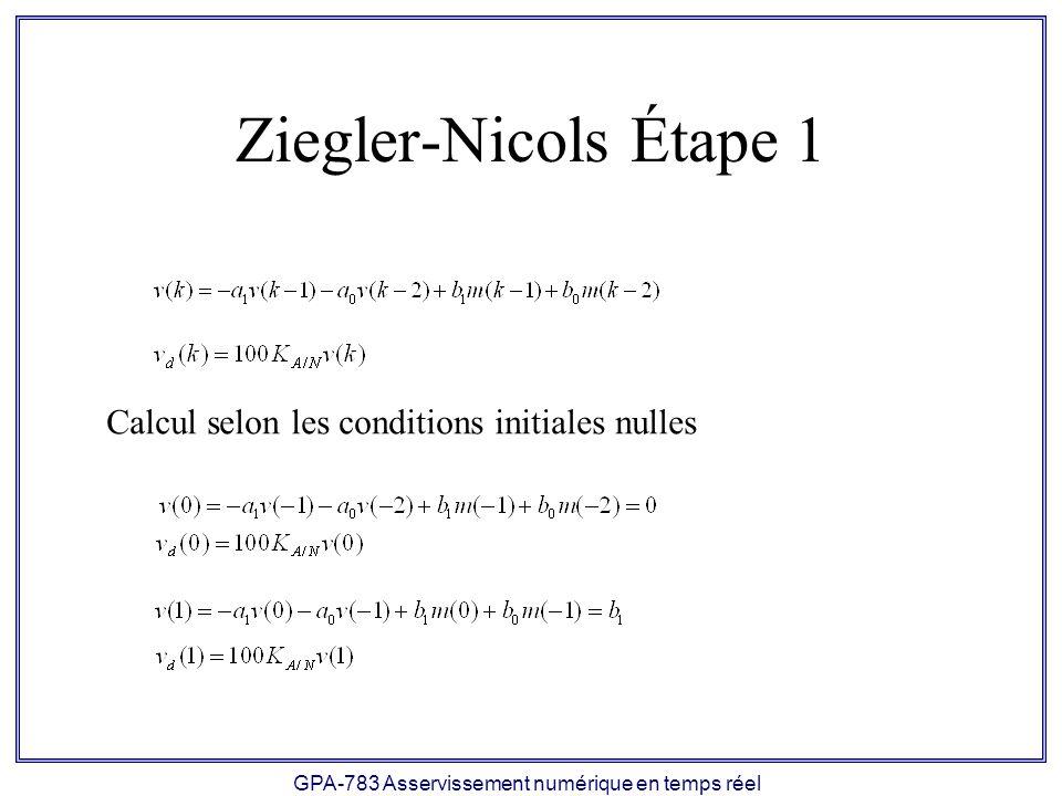 GPA-783 Asservissement numérique en temps réel Ziegler-Nicols Étape 1 Calcul selon les conditions initiales nulles