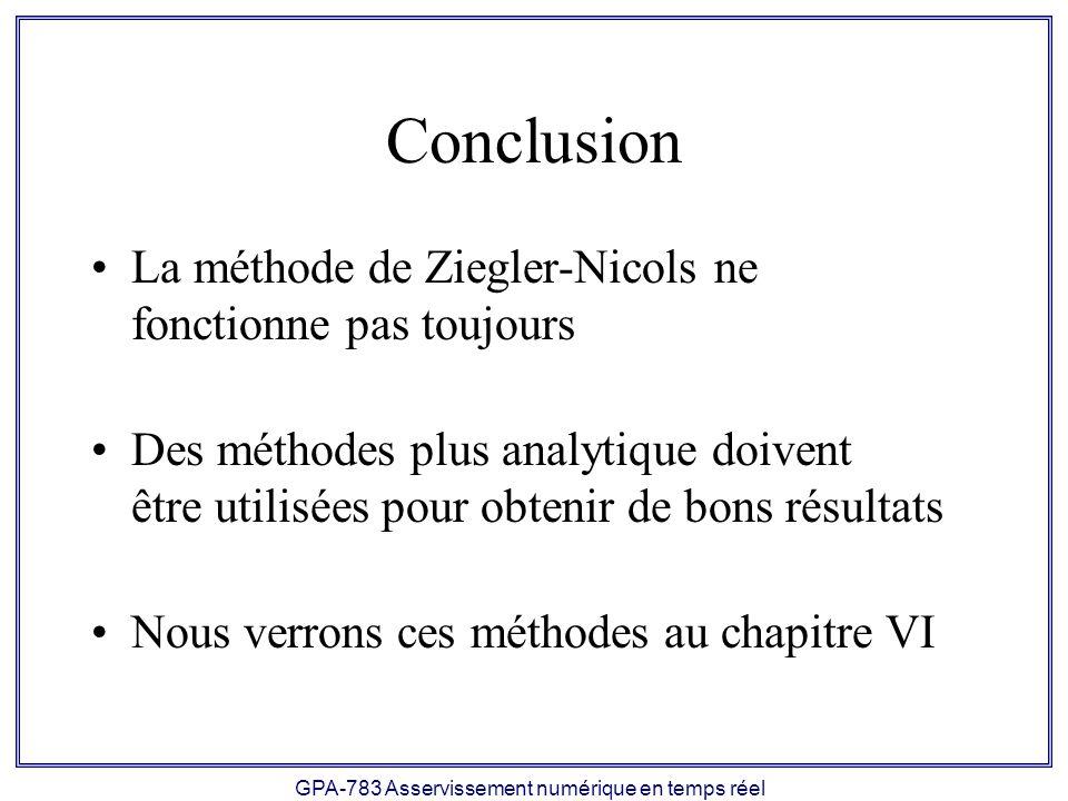 GPA-783 Asservissement numérique en temps réel Conclusion La méthode de Ziegler-Nicols ne fonctionne pas toujours Des méthodes plus analytique doivent être utilisées pour obtenir de bons résultats Nous verrons ces méthodes au chapitre VI