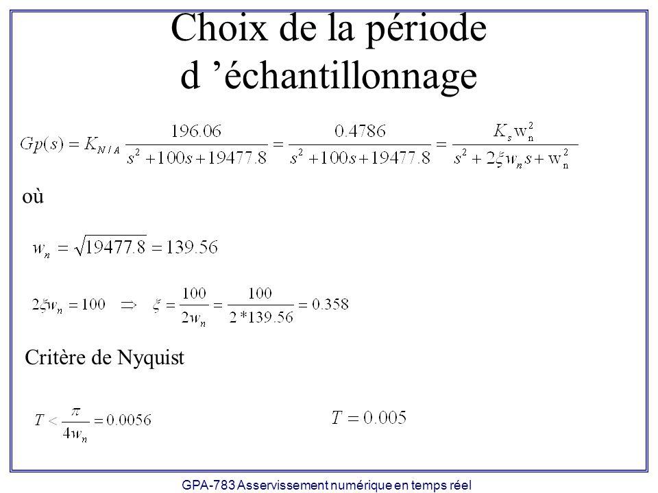 GPA-783 Asservissement numérique en temps réel Choix de la période d échantillonnage où Critère de Nyquist