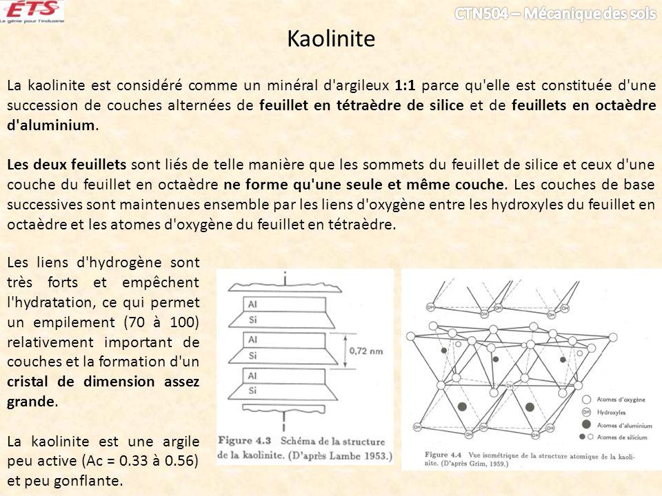 Kaolinite La kaolinite est considéré comme un minéral d'argileux 1:1 parce qu'elle est constituée d'une succession de couches alternées de feuillet en