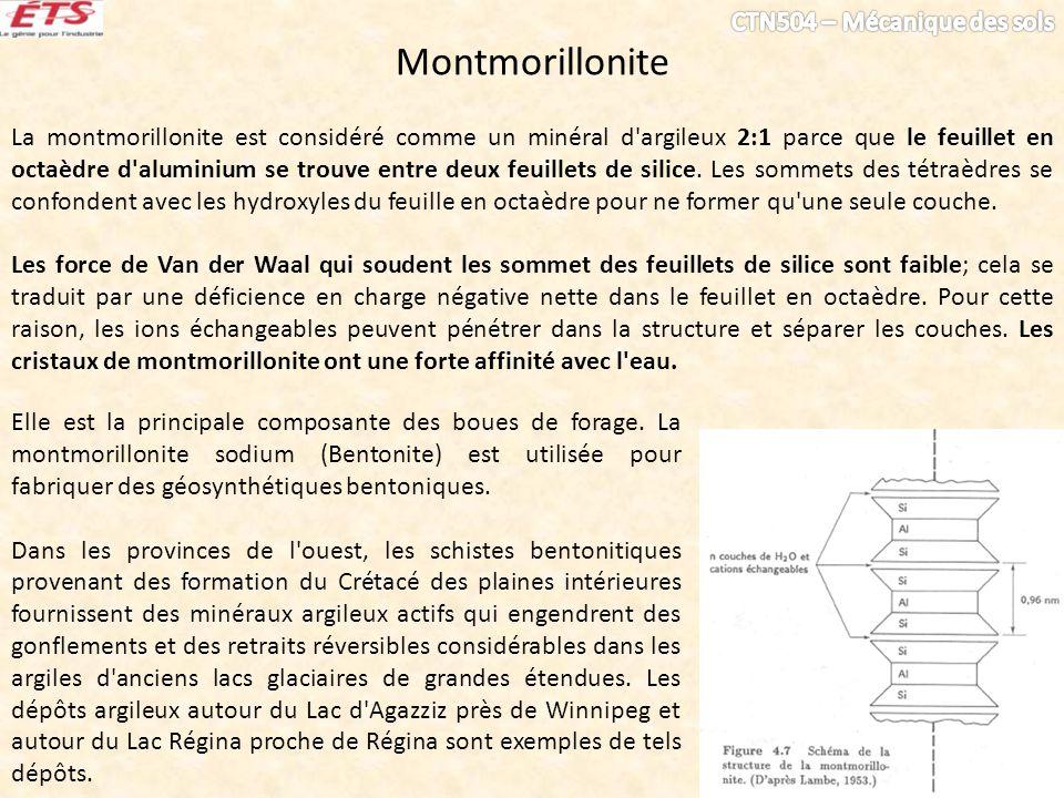 Montmorillonite La montmorillonite est considéré comme un minéral d'argileux 2:1 parce que le feuillet en octaèdre d'aluminium se trouve entre deux fe