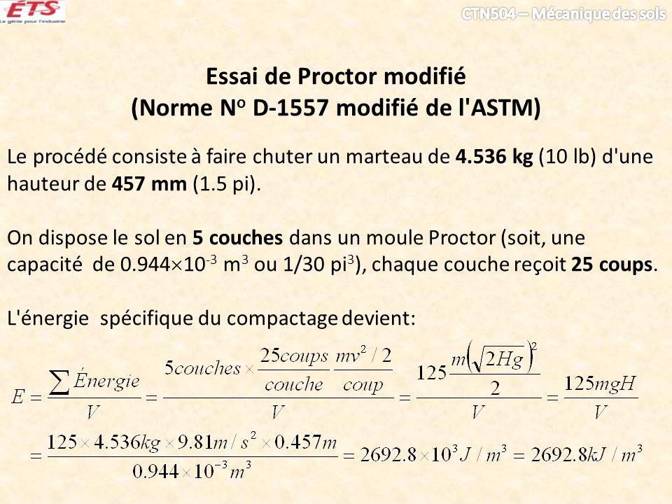 Essai de Proctor modifié (Norme N o D-1557 modifié de l'ASTM) Le procédé consiste à faire chuter un marteau de 4.536 kg (10 lb) d'une hauteur de 457 m