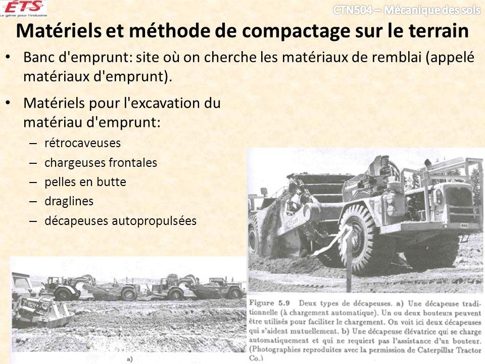 Matériels et méthode de compactage sur le terrain Banc d'emprunt: site où on cherche les matériaux de remblai (appelé matériaux d'emprunt). Matériels