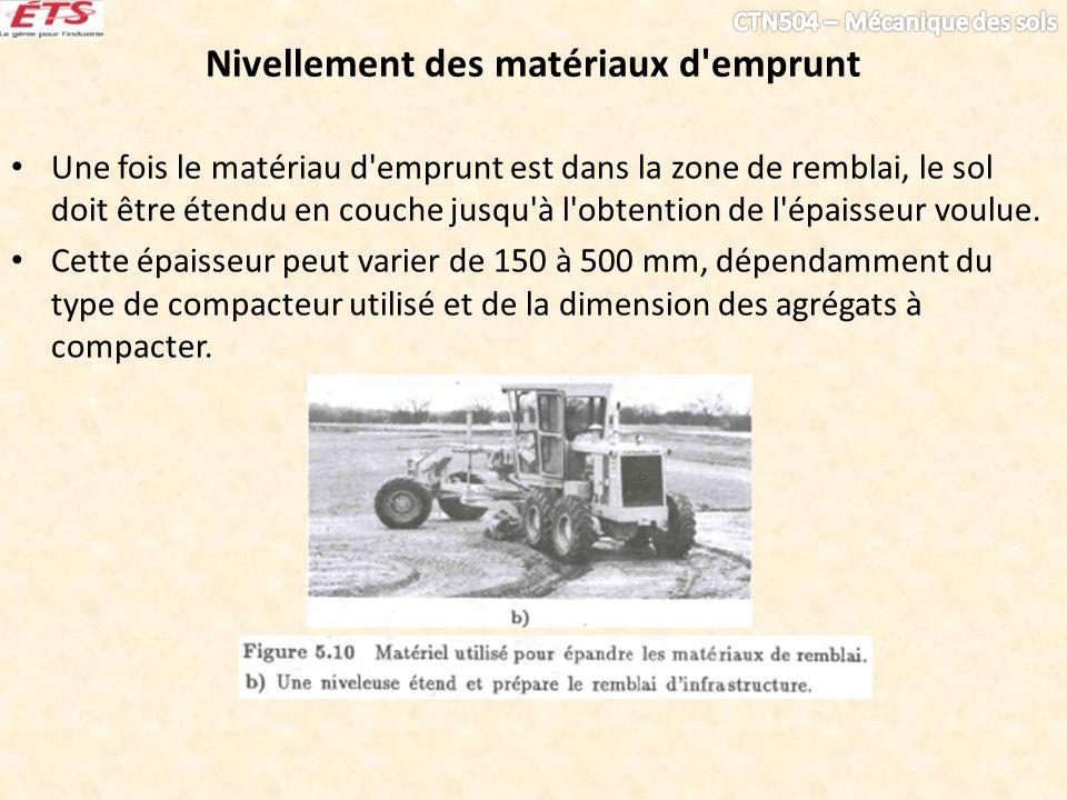 Nivellement des matériaux d'emprunt Une fois le matériau d'emprunt est dans la zone de remblai, le sol doit être étendu en couche jusqu'à l'obtention