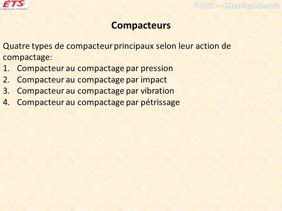 Compacteurs Quatre types de compacteur principaux selon leur action de compactage: 1.Compacteur au compactage par pression 2.Compacteur au compactage