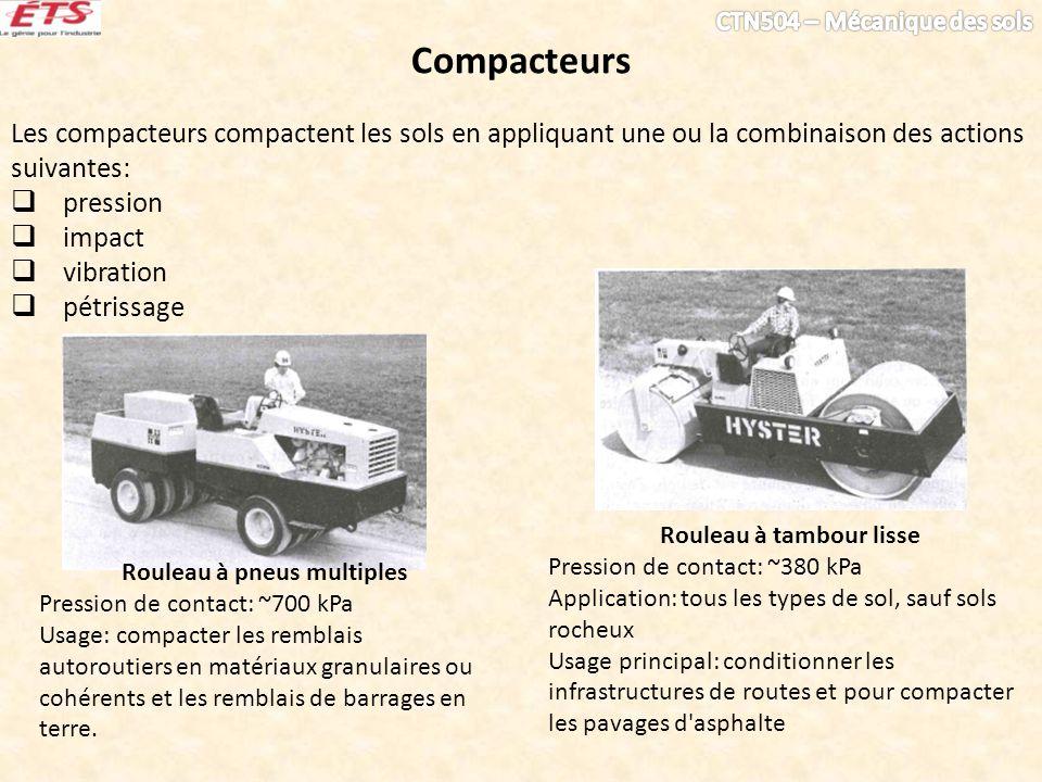 Compacteurs Les compacteurs compactent les sols en appliquant une ou la combinaison des actions suivantes: pression impact vibration pétrissage Roulea