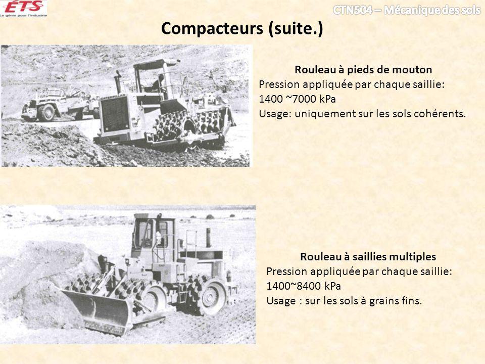 Compacteurs (suite.) Rouleau à saillies multiples Pression appliquée par chaque saillie: 1400~8400 kPa Usage : sur les sols à grains fins. Rouleau à p