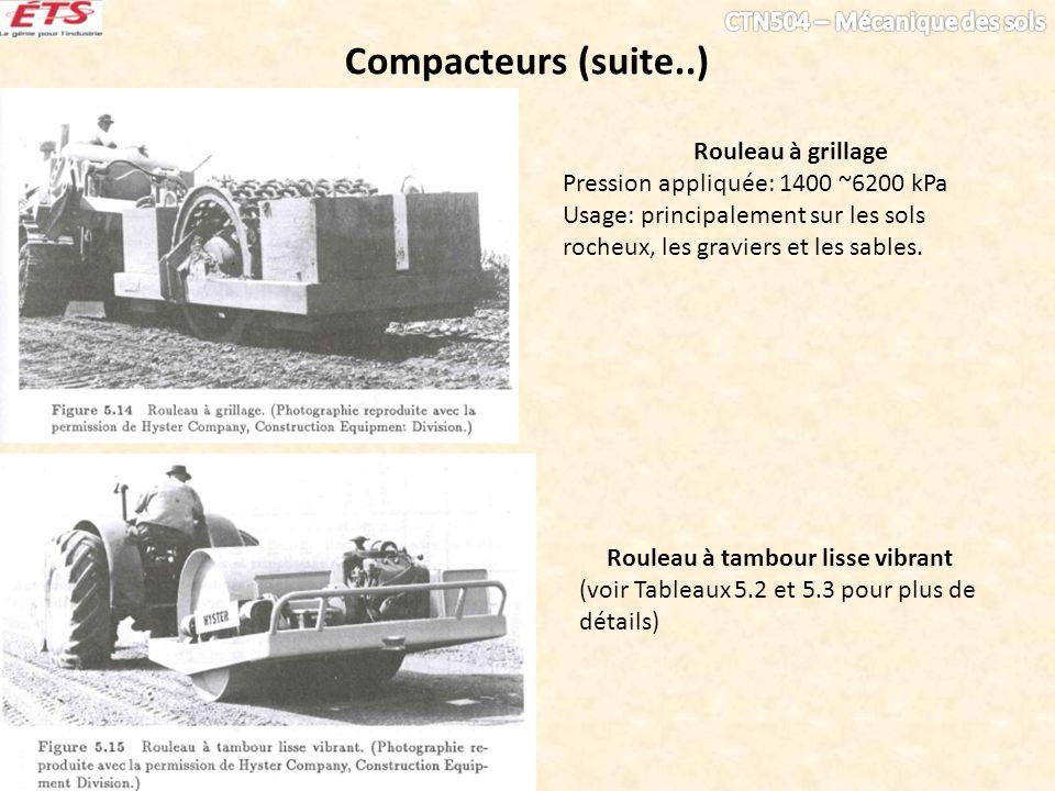 Compacteurs (suite..) Rouleau à tambour lisse vibrant (voir Tableaux 5.2 et 5.3 pour plus de détails) Rouleau à grillage Pression appliquée: 1400 ~620