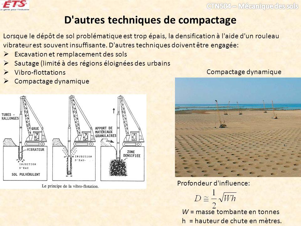 D'autres techniques de compactage Lorsque le dépôt de sol problématique est trop épais, la densification à l'aide d'un rouleau vibrateur est souvent i