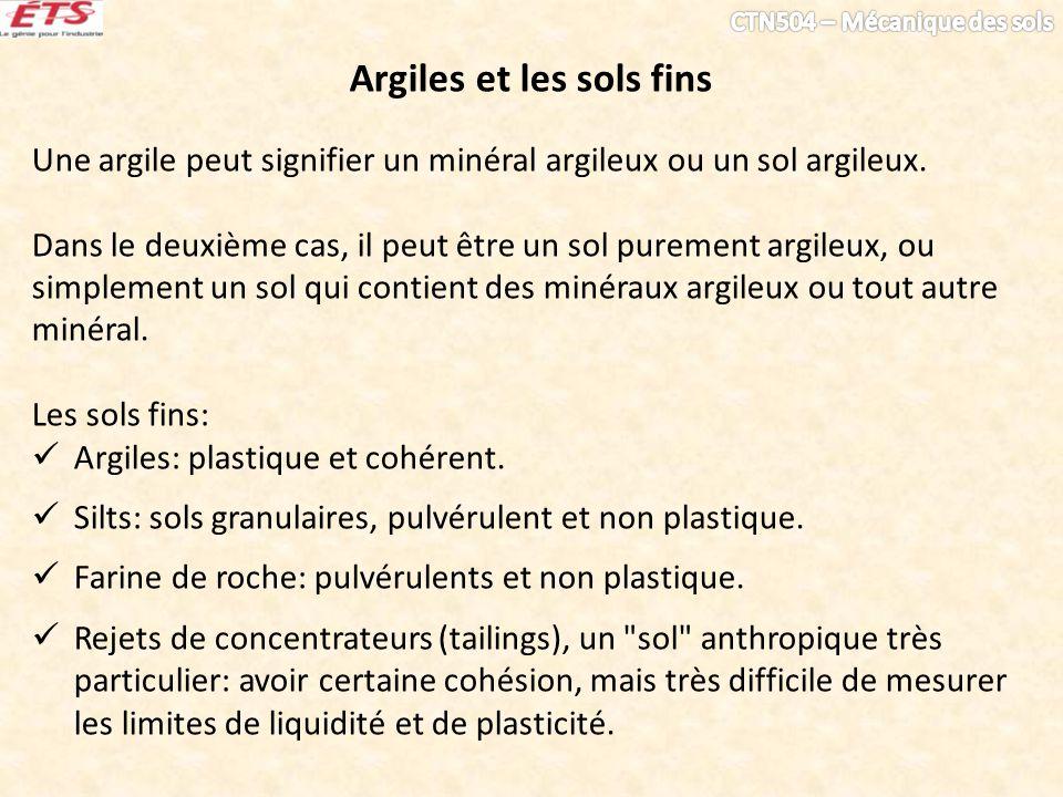 Argiles et les sols fins Une argile peut signifier un minéral argileux ou un sol argileux. Dans le deuxième cas, il peut être un sol purement argileux