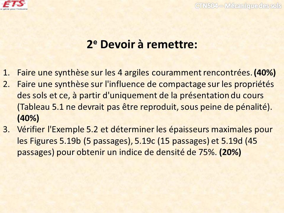 2 e Devoir à remettre: 1.Faire une synthèse sur les 4 argiles couramment rencontrées. (40%) 2.Faire une synthèse sur l'influence de compactage sur les