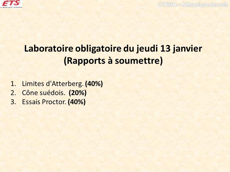 Laboratoire obligatoire du jeudi 13 janvier (Rapports à soumettre) 1.Limites d'Atterberg. (40%) 2.Cône suédois. (20%) 3.Essais Proctor. (40%)