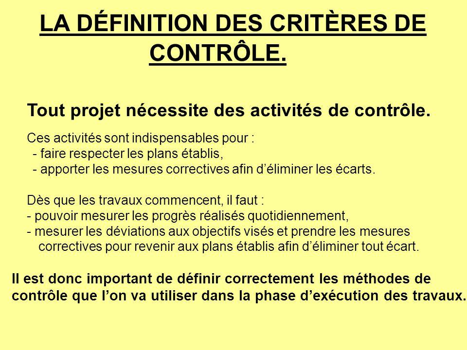 LA DÉFINITION DES CRITÈRES DE CONTRÔLE. Tout projet nécessite des activités de contrôle. Ces activités sont indispensables pour : - faire respecter le