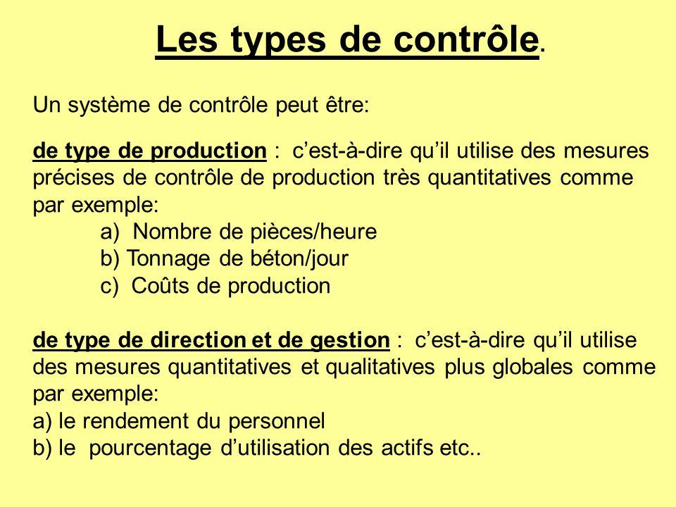 Les types de contrôle. Un système de contrôle peut être: de type de production : cest-à-dire quil utilise des mesures précises de contrôle de producti