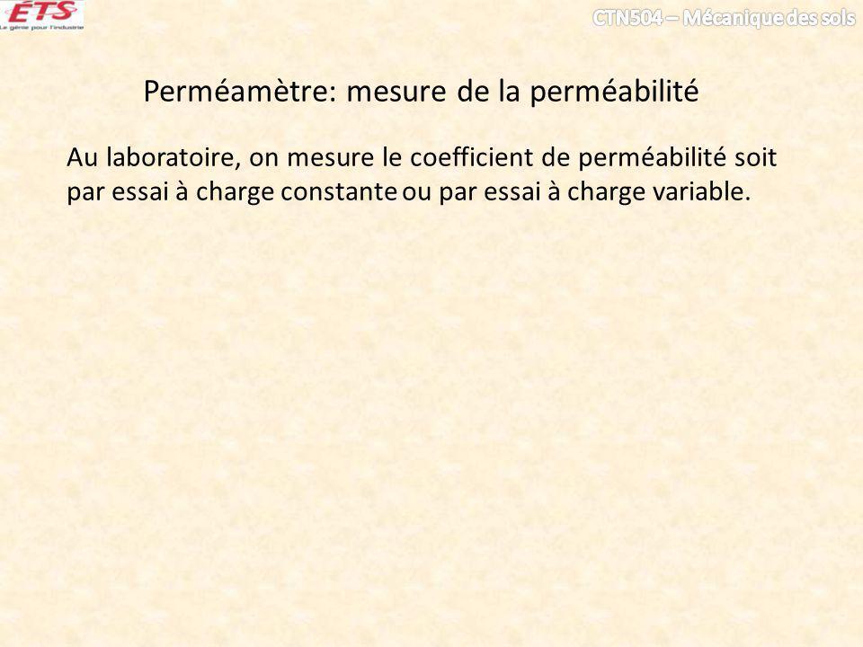 Perméamètre: mesure de la perméabilité Au laboratoire, on mesure le coefficient de perméabilité soit par essai à charge constante ou par essai à charg