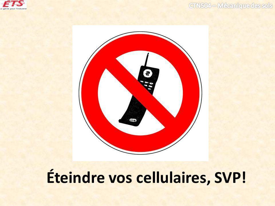 Éteindre vos cellulaires, SVP!
