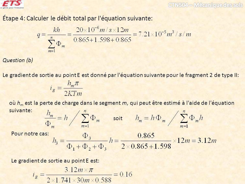 Étape 4: Calculer le débit total par l équation suivante: Question (b) Le gradient de sortie au point E est donné par l équation suivante pour le fragment 2 de type II: Pour notre cas: soit où h m est la perte de charge dans le segment m, qui peut être estimé à l aide de l équation suivante: Le gradient de sortie au point E est: