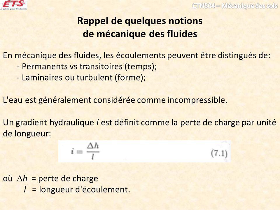 Rappel de quelques notions de mécanique des fluides En mécanique des fluides, les écoulements peuvent être distingués de: - Permanents vs transitoires (temps); - Laminaires ou turbulent (forme); L eau est généralement considérée comme incompressible.