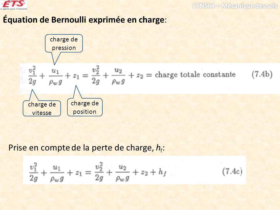 Loi de Darcy: où A = aire d une surface transversale; q = débit total à travers la surface transversale, A; v = vitesse d écoulement; k = coefficient de perméabilité (appelé aussi conductivité hydraulique); h = perte de charge l = longueur d écoulement