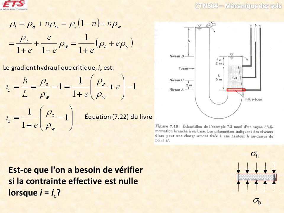 Est-ce que l'on a besoin de vérifier si la contrainte effective est nulle lorsque i = i c ? b h Le gradient hydraulique critique, i c est: Équation (7