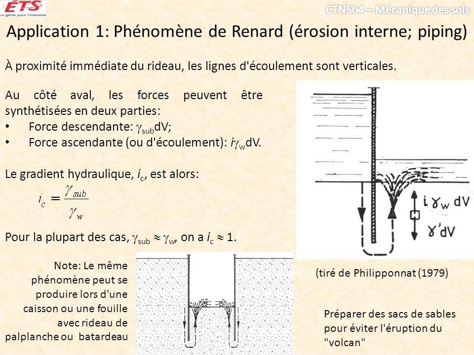Application 1: Phénomène de Renard (érosion interne; piping) À proximité immédiate du rideau, les lignes d'écoulement sont verticales. Au côté aval, l