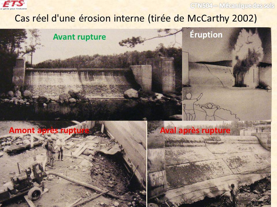 Cas réel d'une érosion interne (tirée de McCarthy 2002) Avant rupture Éruption Amont après ruptureAval après rupture