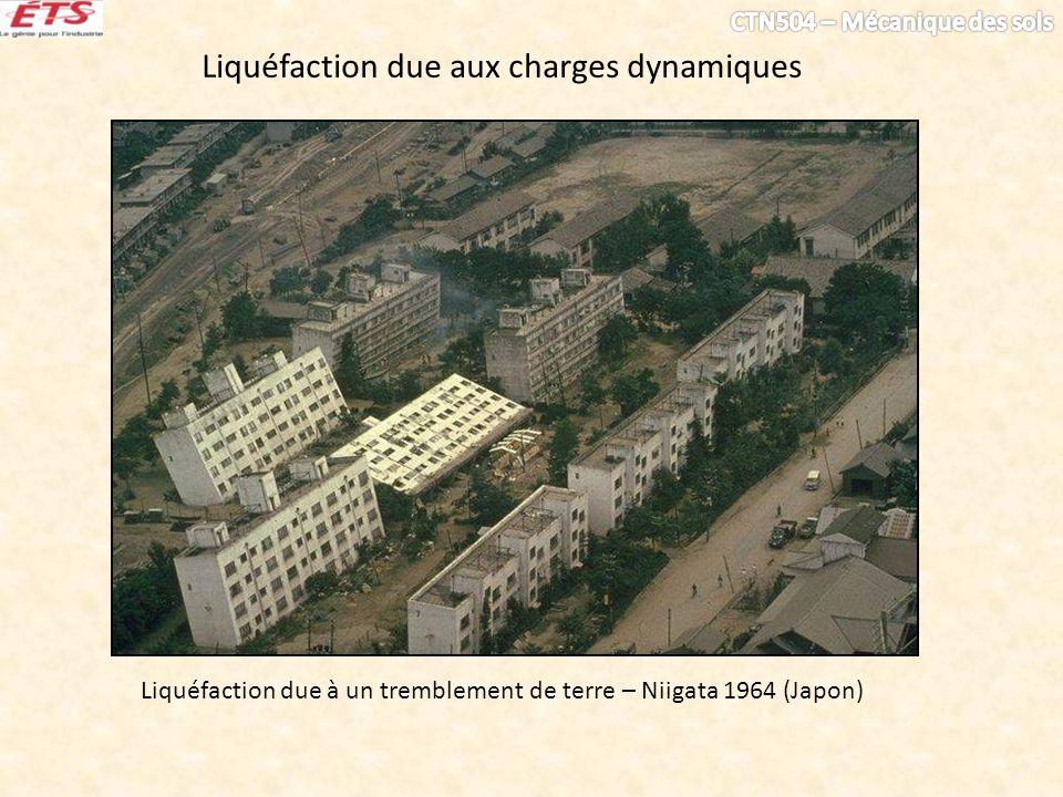 Liquéfaction due aux charges dynamiques Liquéfaction due à un tremblement de terre – Niigata 1964 (Japon)