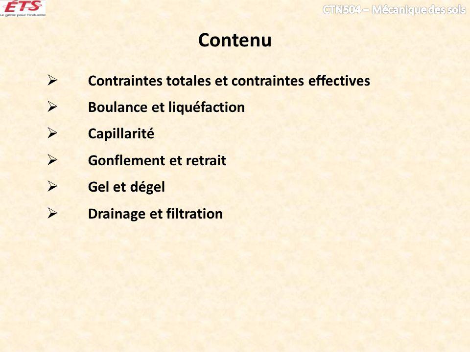 Contenu Contraintes totales et contraintes effectives Boulance et liquéfaction Capillarité Gonflement et retrait Gel et dégel Drainage et filtration
