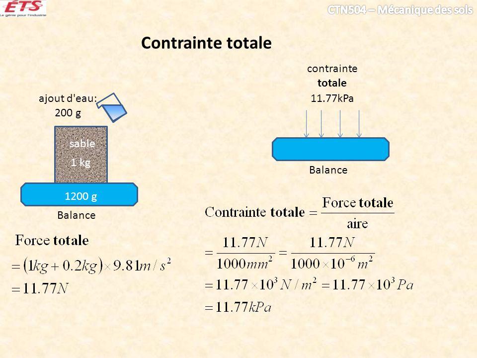 1 kg sable Balance 1200 g Balance 11.77kPa contrainte totale ajout d'eau: 200 g Contrainte totale