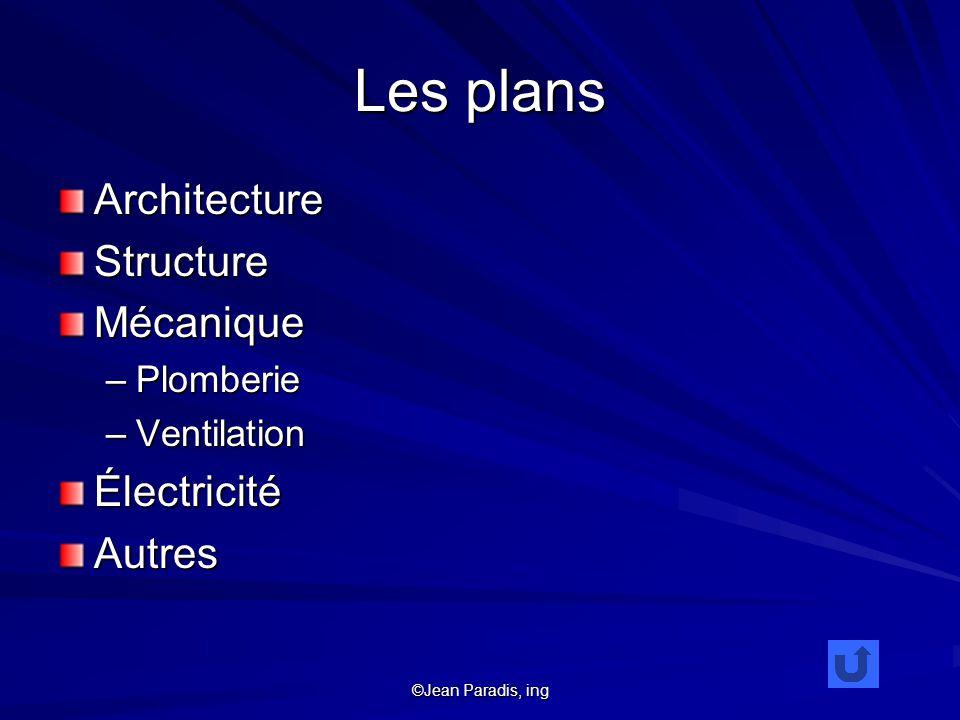 ©Jean Paradis, ing Les plans ArchitectureStructureMécanique –Plomberie –Ventilation ÉlectricitéAutres
