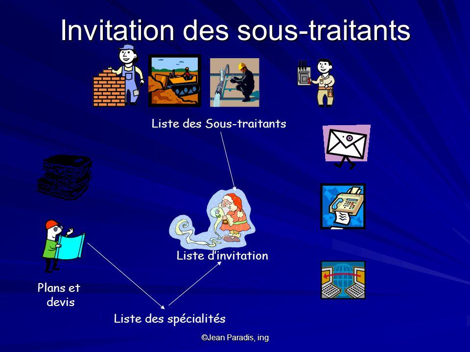 ©Jean Paradis, ing Liste des Sous-traitants Liste des spécialités Plans et devis Liste dinvitation Invitation des sous-traitants