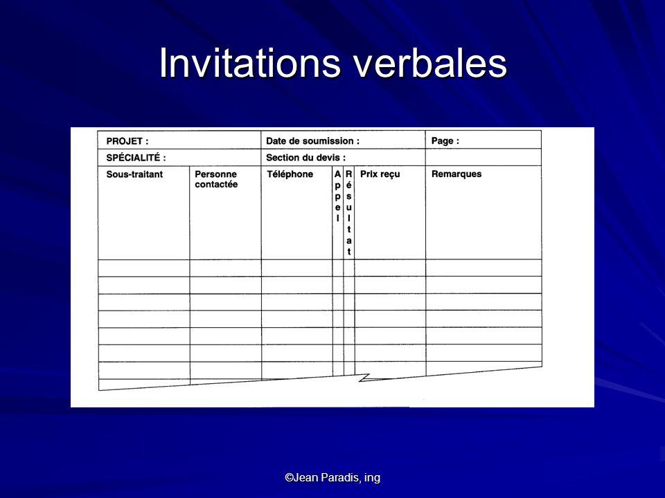 ©Jean Paradis, ing Invitations verbales