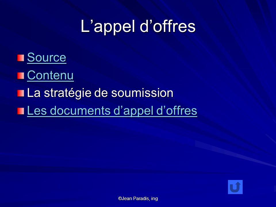 ©Jean Paradis, ing Lappel doffres Source Contenu La stratégie de soumission Les documents dappel doffres Les documents dappel doffres