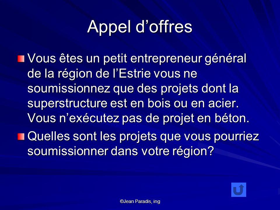 ©Jean Paradis, ing Appel doffres Vous êtes un petit entrepreneur général de la région de lEstrie vous ne soumissionnez que des projets dont la superstructure est en bois ou en acier.