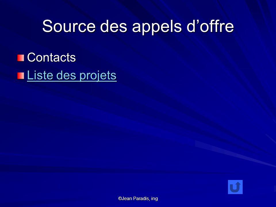 ©Jean Paradis, ing Source des appels doffre Contacts Liste des projets Liste des projets
