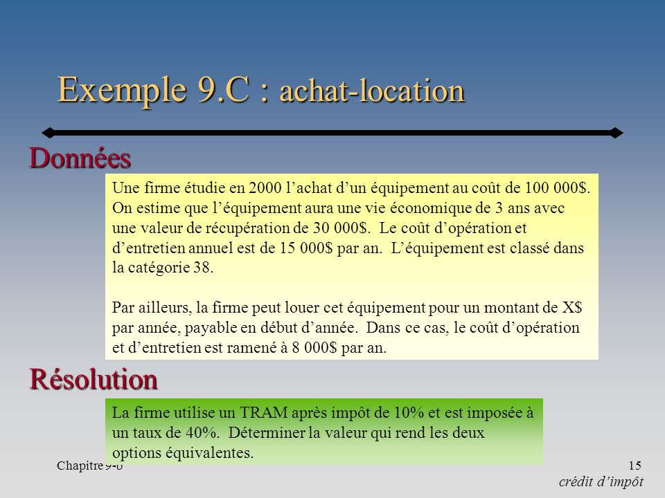Chapitre 9-b15 Exemple 9.C : achat-location crédit dimpôt Une firme étudie en 2000 lachat dun équipement au coût de 100 000$.