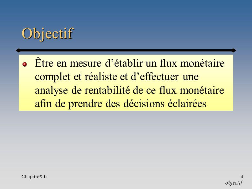 Chapitre 9-b4 Objectif Être en mesure détablir un flux monétaire complet et réaliste et deffectuer une analyse de rentabilité de ce flux monétaire afin de prendre des décisions éclairées objectif