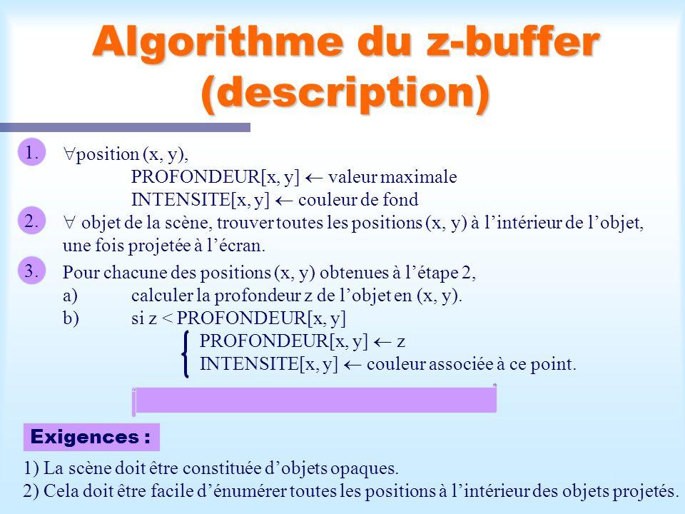 Calcul d'une scène visible13 Algorithme du z-buffer (description) 1. position (x, y), PROFONDEUR[x, y] valeur maximale INTENSITE[x, y] couleur de fond