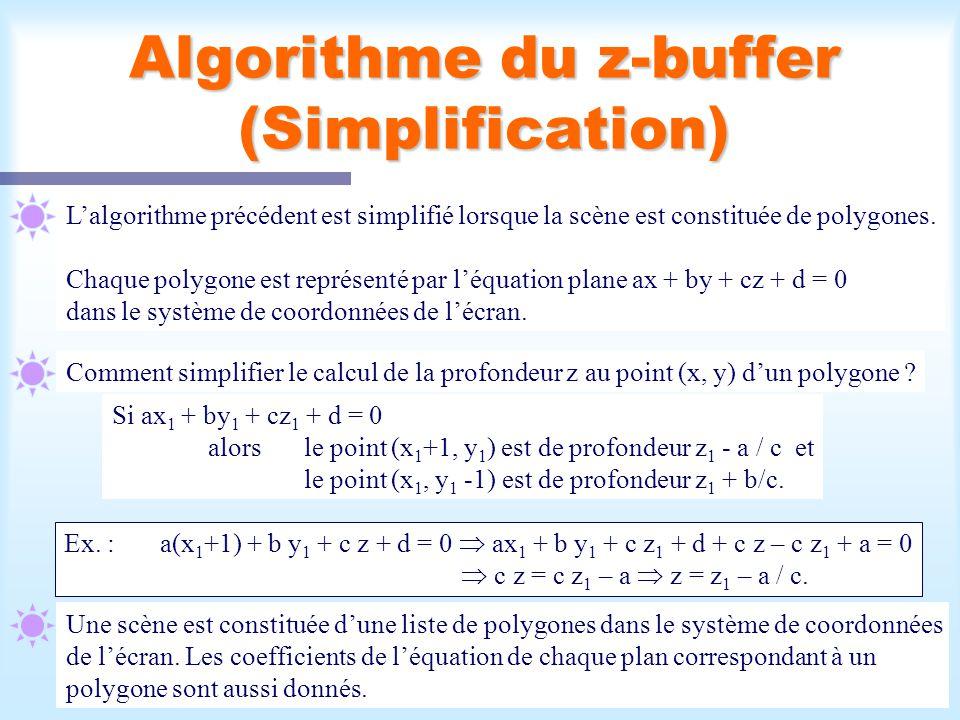 Calcul d'une scène visible14 Algorithme du z-buffer (Simplification) Lalgorithme précédent est simplifié lorsque la scène est constituée de polygones.