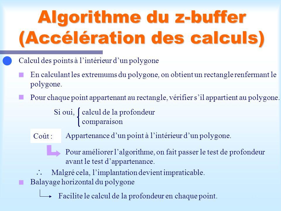 Calcul d une scène visible15 Algorithme du z-buffer (Accélération des calculs) Calcul des points à lintérieur dun polygone En calculant les extremums du polygone, on obtient un rectangle renfermant le polygone.