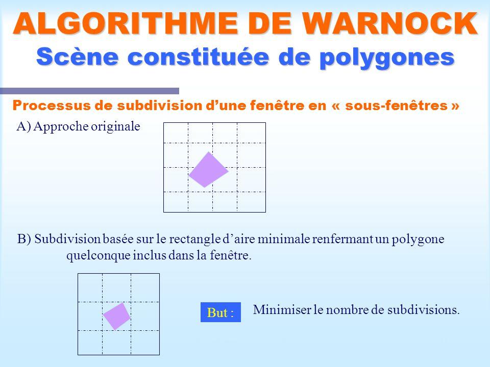 Calcul d une scène visible31 ALGORITHME DE WARNOCK Scène constituée de polygones Processus de subdivision dune fenêtre en « sous-fenêtres » A) Approche originale B) Subdivision basée sur le rectangle daire minimale renfermant un polygone quelconque inclus dans la fenêtre.