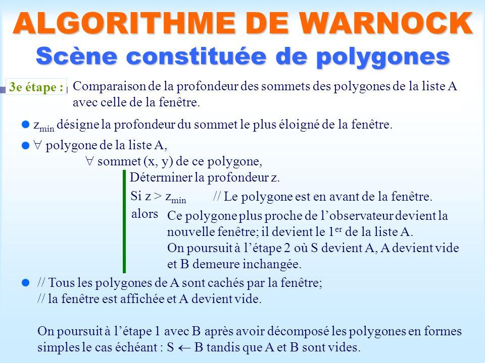 Calcul d une scène visible34 ALGORITHME DE WARNOCK Scène constituée de polygones 3e étape : Comparaison de la profondeur des sommets des polygones de la liste A avec celle de la fenêtre.