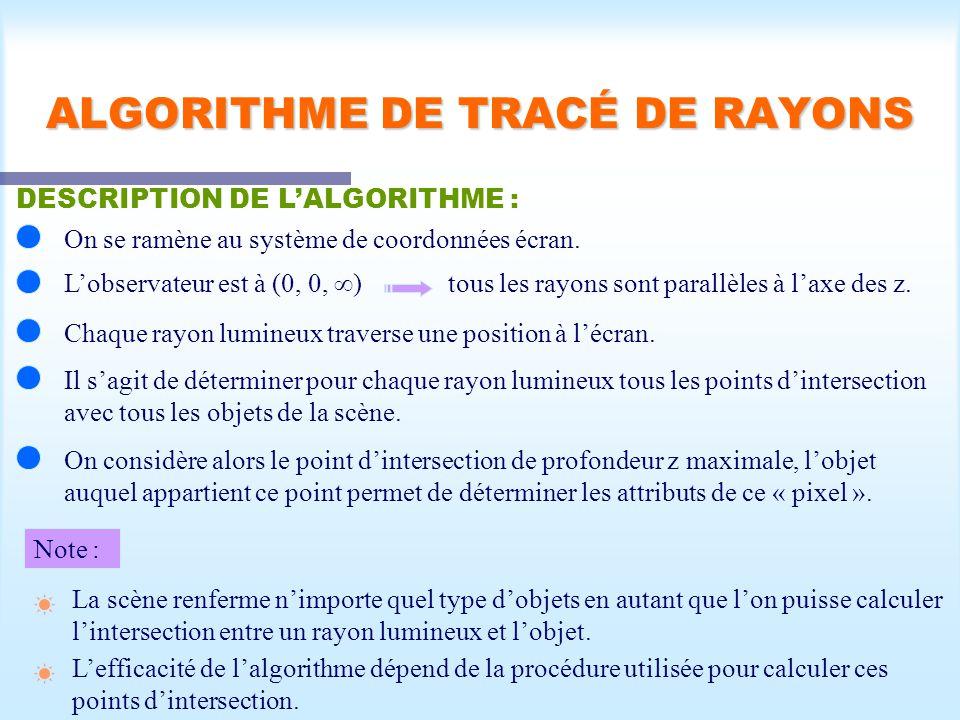 Calcul d'une scène visible36 ALGORITHME DE TRACÉ DE RAYONS DESCRIPTION DE LALGORITHME : On se ramène au système de coordonnées écran. Lobservateur est