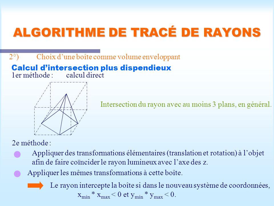 Calcul d une scène visible39 ALGORITHME DE TRACÉ DE RAYONS 2°)Choix dune boîte comme volume enveloppant Calcul dintersection plus dispendieux 1er méthode :calcul direct Intersection du rayon avec au moins 3 plans, en général.
