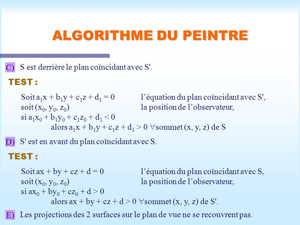 Calcul d'une scène visible46 ALGORITHME DU PEINTRE C) S est derrière le plan coïncidant avec S'. TEST : Soit a 1 x + b 1 y + c 1 z + d 1 = 0 léquation