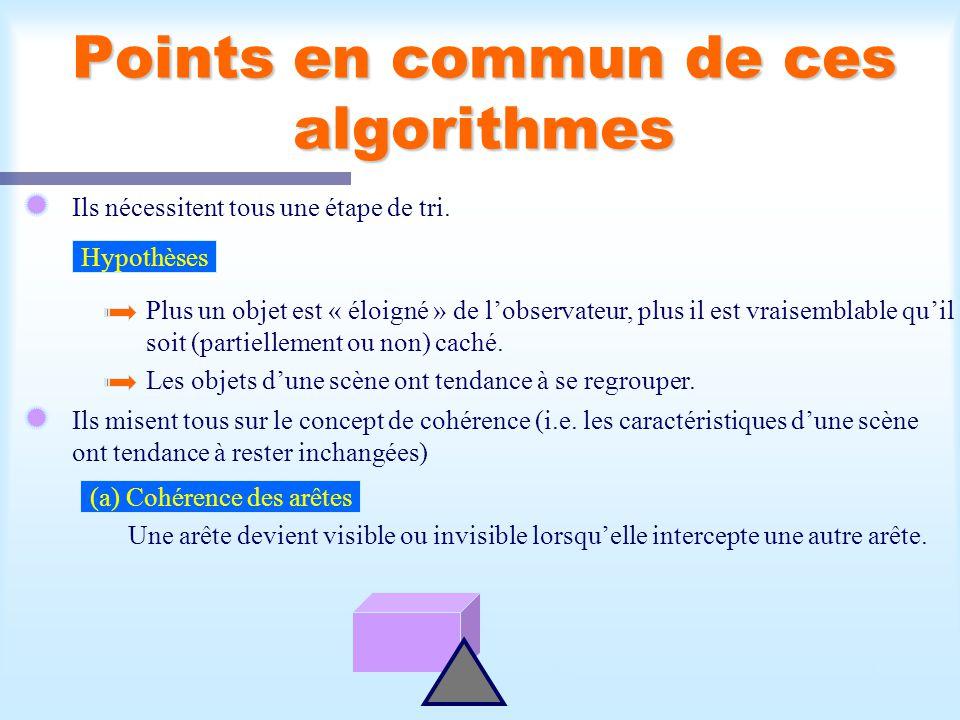 Calcul d'une scène visible5 Points en commun de ces algorithmes Ils nécessitent tous une étape de tri. Hypothèses Plus un objet est « éloigné » de lob