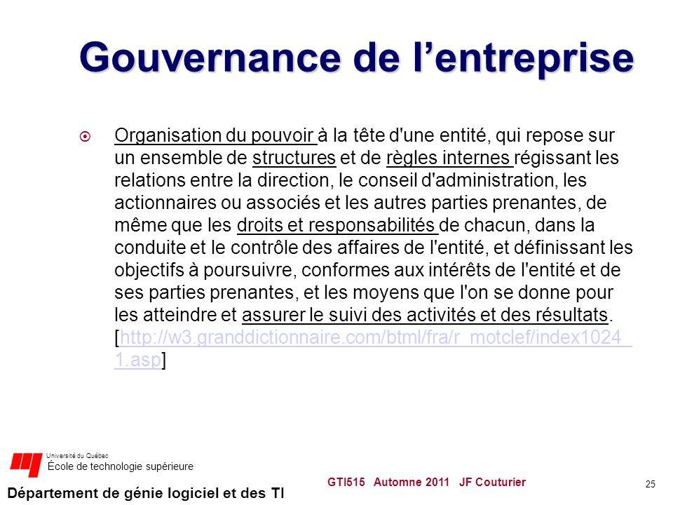 Département de génie logiciel et des TI Université du Québec École de technologie supérieure Gouvernance de lentreprise Organisation du pouvoir à la t